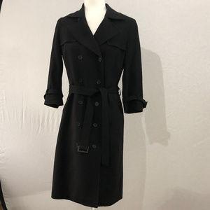Brooks Brothers Black Wool Trench Coat Dress Sz 6